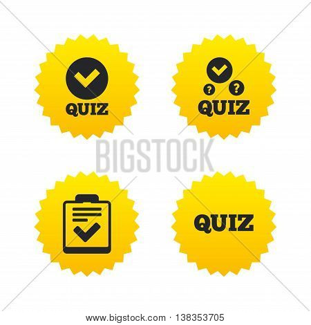 Quiz icons. Checklist with check mark symbol. Survey poll or questionnaire feedback form sign. Yellow stars labels with flat icons. Vector