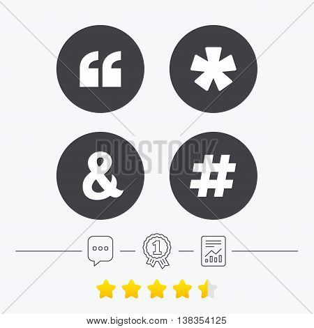 Quote, asterisk footnote icons. Hashtag social media and ampersand symbols. Programming logical operator AND sign. Chat, award medal and report linear icons. Star vote ranking. Vector