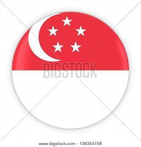 Singaporean Flag Button - Flag Of Singapore Badge 3D Illustration