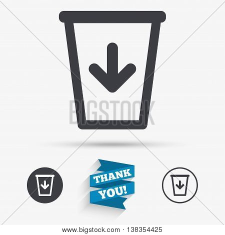 Send to the trash icon. Recycle bin sign. Flat icons. Buttons with icons. Thank you ribbon. Vector