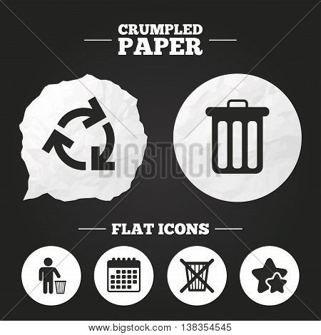 Crumpled paper speech bubble. Recycle bin icons. Reuse or reduce symbols. Human throw in trash can. Recycling signs. Paper button. Vector