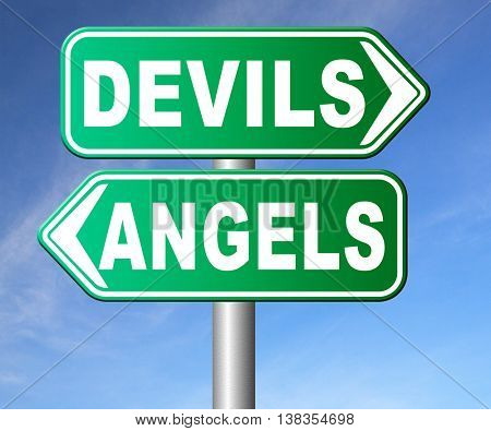 devil and angel good or evil bad heaven and hell road sign with text arrow 3D illustration, isolated, on white