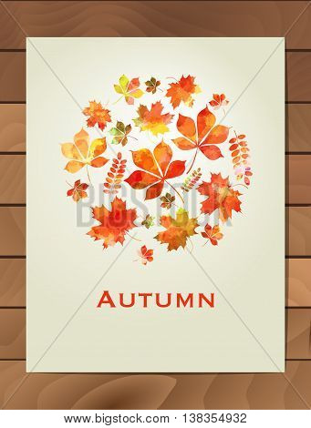 Autumn watercolor round frame. Wreath of autumn leaves. Background with hand drawn autumn leaves. Fall of the leaves. Sketch design elements. Vector illustration