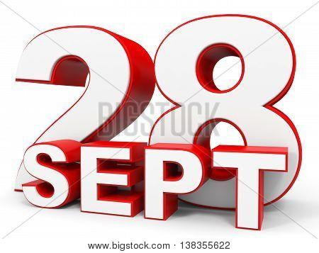 September 28. 3D Text On White Background.