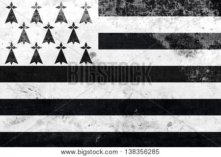 Flag Of Brittany, France, With A Vintage And Old Look