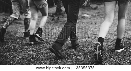 Camping Backpacker Walking Friendship Togetherness Concept