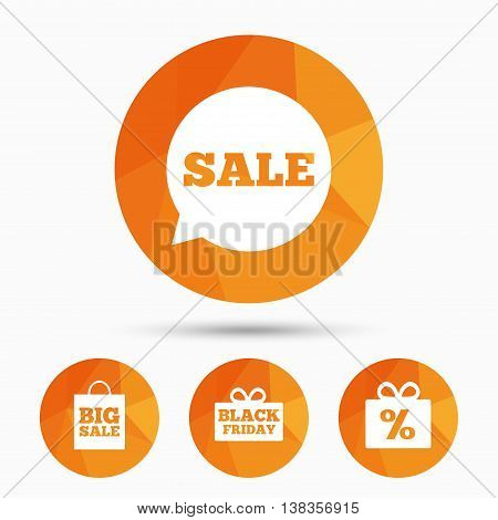 Sale speech bubble icon. Black friday gift box symbol. Big sale shopping bag. Discount percent sign. Triangular low poly buttons with shadow. Vector