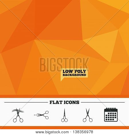 Triangular low poly orange background. Scissors icons. Hairdresser or barbershop symbol. Scissors cut hair. Cut dash dotted line. Tailor symbol. Calendar flat icon. Vector