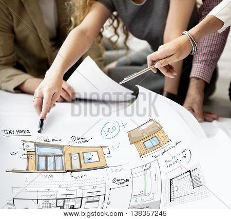House Layout Floorplan Blueprint Sketch Concept