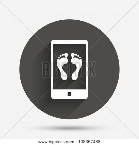 Selfie legs sign icon. Self feet photo on smartphone symbol. Circle flat button with shadow. Vector