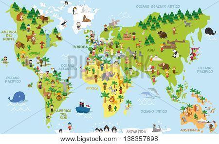 Funny cartoon world map with children of different nationalities animals and monuments of all the continents and oceans. Names in spanish. Vector illustration for preschool education and kids design.