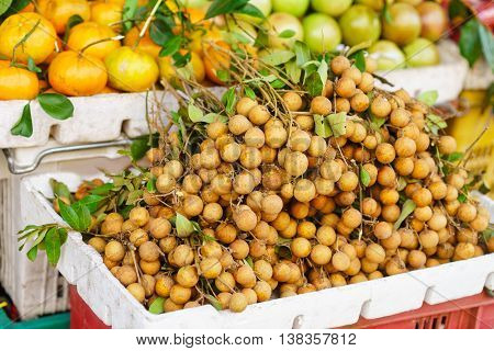 Asian Farmer Market Selling Fresh Fruit In Vietnam
