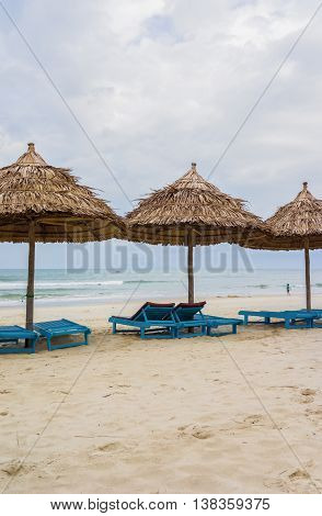 Shelter And Sunbeds In China Beach In Da Nang