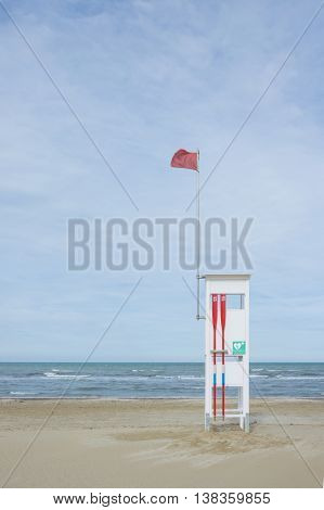 Lifeguard observation tower on the beach of Adriatic Sea