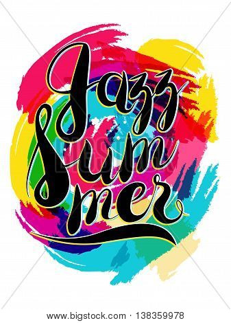Vector Hashtag Jazz Summer Lettering on Spot Background, yellow and blue
