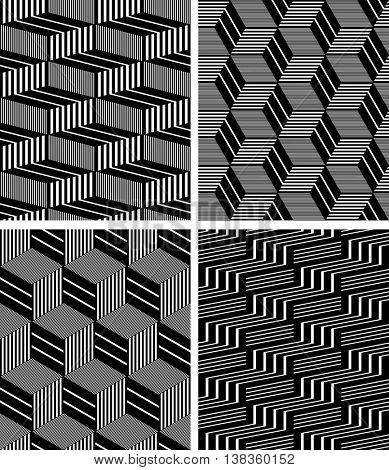 Seamless geometric op art patterns set. 3D illusion. Vector art.