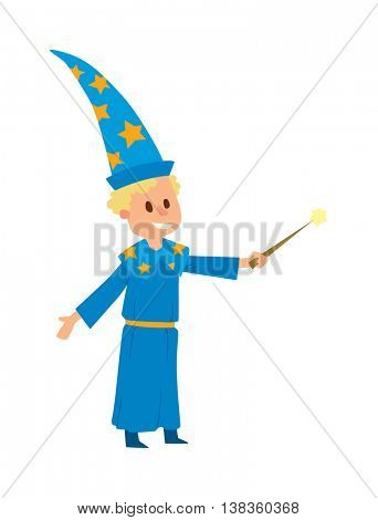 Magicians and wizards illusion show boy character vector.