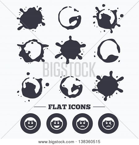 Paint, coffee or milk splash blots. Circle smile face icons. Happy, sad, cry signs. Happy smiley chat symbol. Sadness depression and crying signs. Smudges splashes drops. Vector