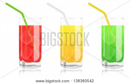Colored Cocktails In Glass