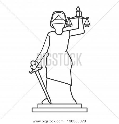 flat design lady justice icon vector illustration