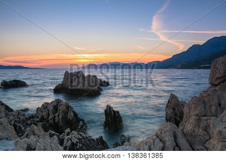 sunset over the beach. Croatia, Dalmatia, Makarska Riviera