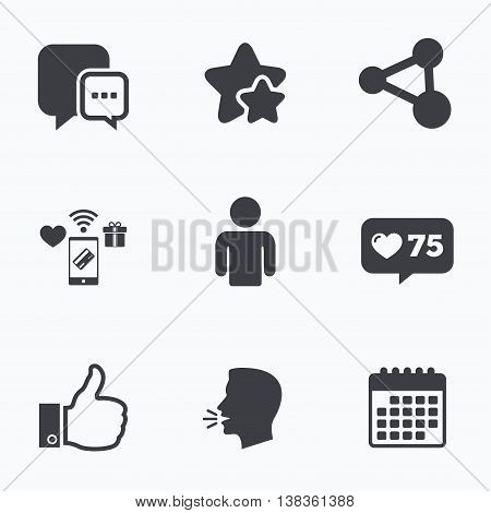 Social media icons. Chat speech bubble and Share link symbols. Like thumb up finger sign. Human person profile. Flat talking head, calendar icons. Stars, like counter icons. Vector
