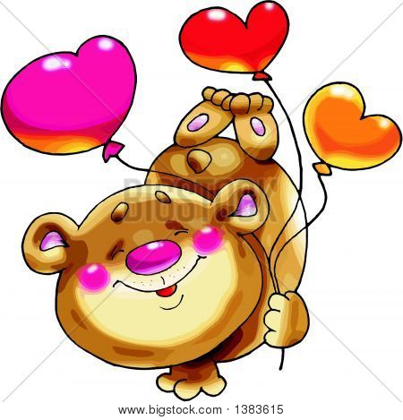 Bear On A Paw With Balloons..Eps