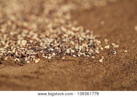 black pepper ground and powder, macro, shallow dof