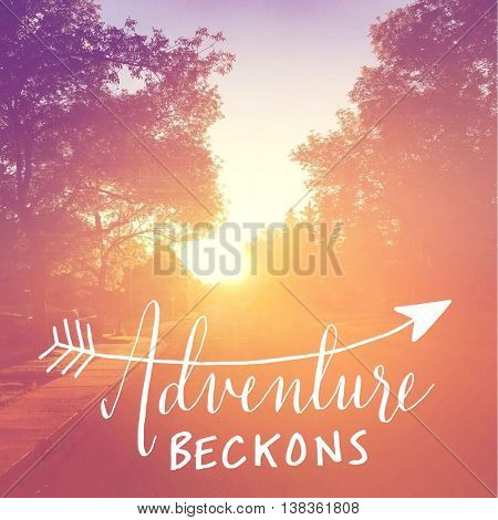 Inspirational Typographic Quote with Sunset  - Adventure Beckons