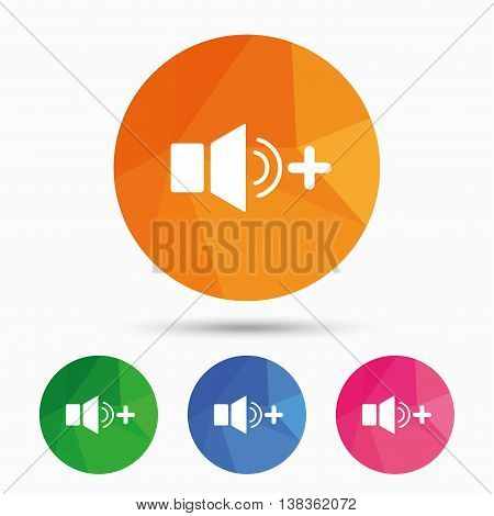 Speaker volume louder sign icon. Sound symbol. Triangular low poly button with flat icon. Vector