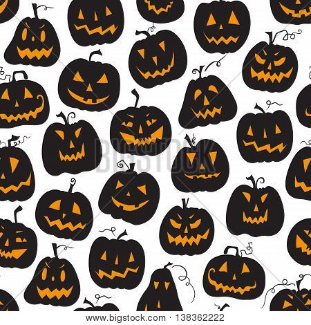 Vector pattern with pumpkins. Halloween holiday seamless background. Vector illustration. Halloween holiday seamless white backdrop.
