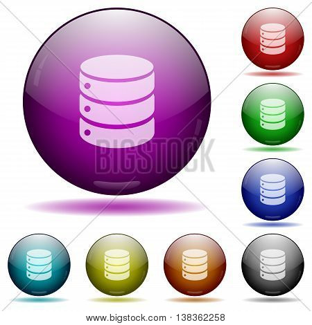 Set of color Database glass sphere buttons with shadows.