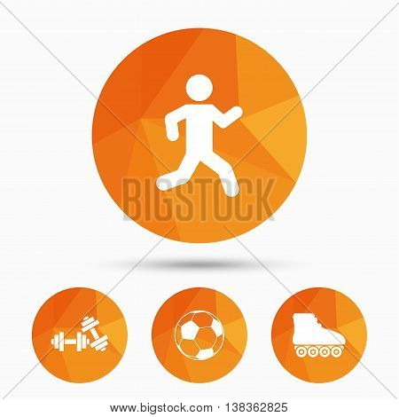 Football ball, Roller skates, Running icons. Fitness sport symbols. Gym workout equipment. Triangular low poly buttons with shadow. Vector