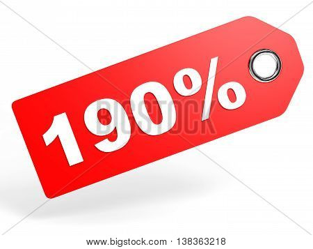 190 Percent Red Discount Tag On White Background.