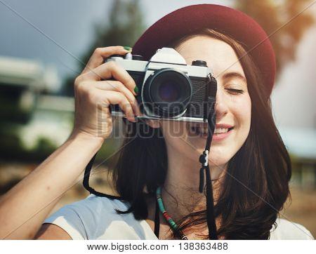 Female Photographer Smiling Vintage Camera Concept