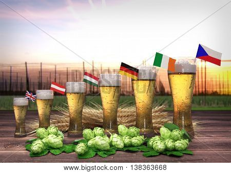 Concept of world beer consumption - 3D render