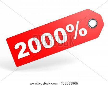 2000 Percent Red Discount Tag On White Background.