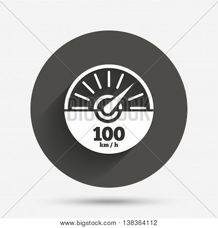 Tachometer sign icon. 100 km per hour revolution-counter symbol. Car speedometer performance. Circle flat button with shadow. Vector