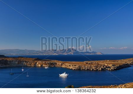 Peninsula and the mountains on the Greek island of Rhodes