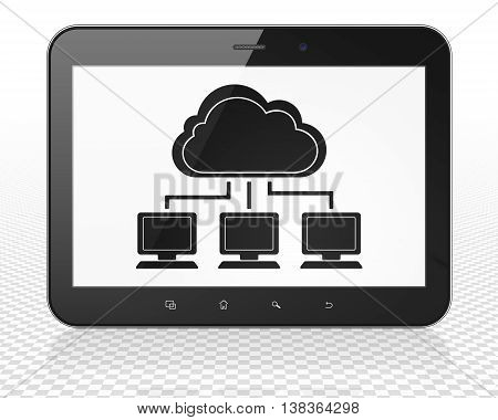 Cloud computing concept: Tablet Pc Computer with black Cloud Network icon on display, 3D rendering