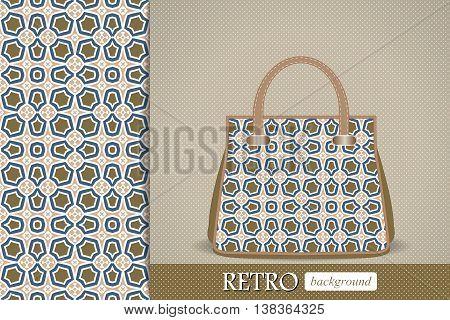 Seamless tribal pattern and matching woman fashion handbag,. Vector illustration