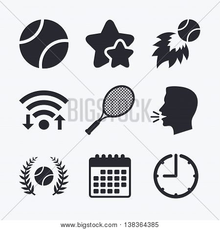 Tennis ball and racket icons. Fast fireball sign. Sport laurel wreath winner award symbol. Wifi internet, favorite stars, calendar and clock. Talking head. Vector