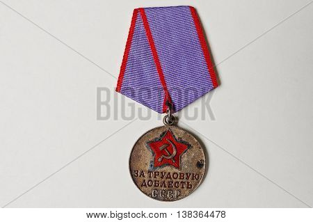 Soviet Medal For Valor On White Background