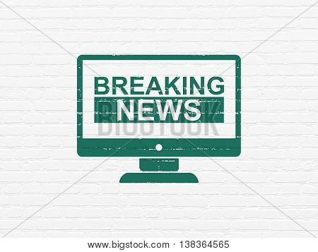 News concept: Painted green Breaking News On Screen icon on White Brick wall background