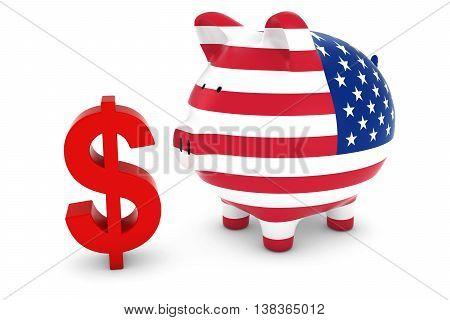 Us Flag Piggy Bank With Dollar Symbol 3D Illustration