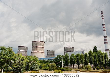 Nuclear Power Station. Tops Of Cooling Towers Of Atomic Power Plant