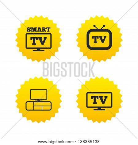 Smart TV mode icon. Widescreen symbol. Retro television and TV table signs. Yellow stars labels with flat icons. Vector