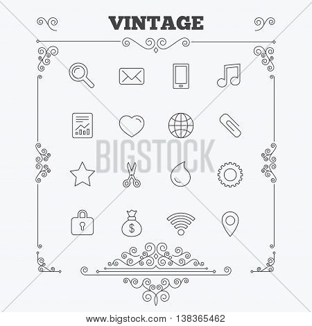 Universal icons. Smartphone, mail and musical note. Heart, globe and share symbols. Paperclip, scissors and water drop. Vintage ornament patterns. Decoration design elements. Vector