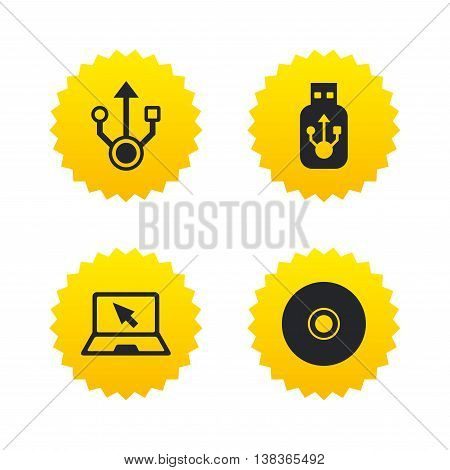 Usb flash drive icons. Notebook or Laptop pc symbols. CD or DVD sign. Compact disc. Yellow stars labels with flat icons. Vector
