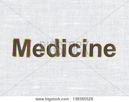 Healthcare concept: CMYK Medicine on linen fabric texture background